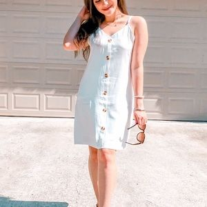 White Adjustable Straps Button Down Dress